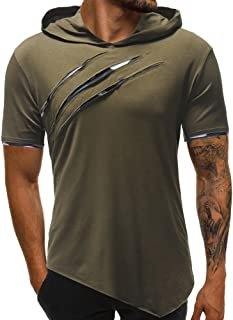 Fashion Personality Men's Pure Color Hoodie Sport Short Sleeve Shirt Top Blouse