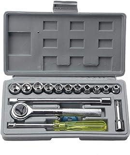 SGJFZD Auto Repair Kit 17 Pieces Household Tool Combination Car Kit Hexagon Socket Hardware Tools Sleeve Kit