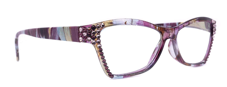 Avian High order Bling Women Reading Discount mail order Glasses Lig Amethyst with Adorned