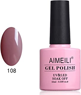AIMEILI Gel Nail Polish Soak Off UV LED Gel Varnish - Brown Lilies (108) 10ml