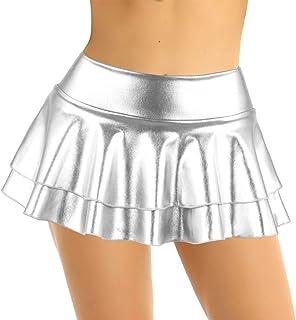 iixpin Minigonna Sexy Donna Hot Vita Bassa Wetlook Gonna a Ruota Corta Clubwear Elasticizzato Discoteca Abbilgliamento Gon...