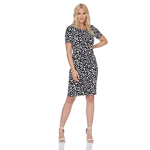 0f1dbc224614 Roman Originals Women Black Short Sleeve Printed Dress - Ladies Knee Length  Jersey Shift Summer Autumn