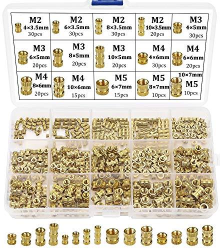 Beihuazi® Insert Fileté Filetage Femelle M2 M3 M4 M5 Douilles Filetées en Laiton pour impression 3d 330Pcs
