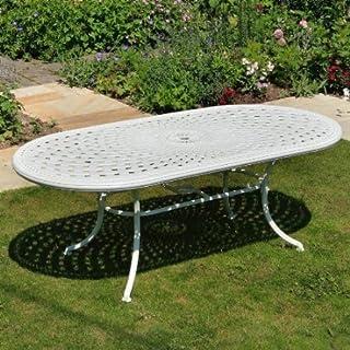 Weißes Catherine 210 x 105cm Ovales Gartenmöbelset Alu - 1 Weißer CATHERINE Tisch + 6 Weiße Mary Stühle