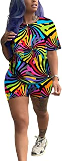 Womens Shorts Set 2 Piece Outfits - Sexy Tie Dye Floral Rainbow T-Shirts + Bodycon Biker Shorts Jumpsuits Rompers