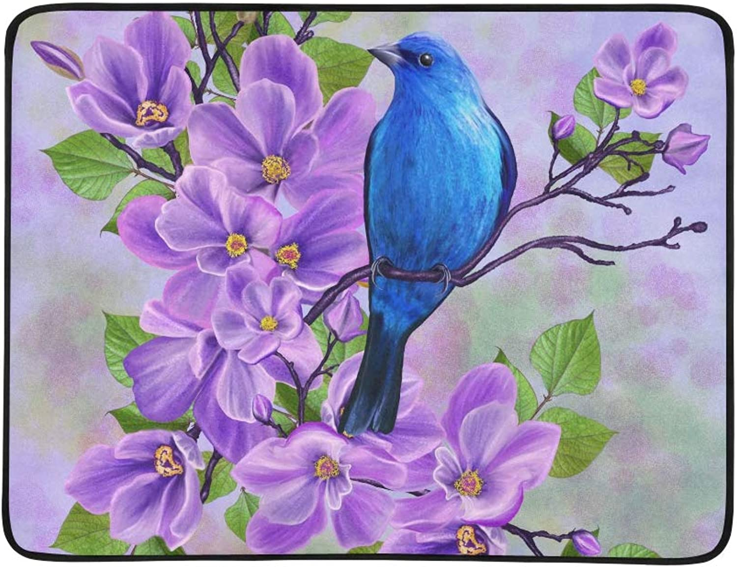 bluee Bird On A Background of Flowering Branches of Pattern Portable and Foldable Blanket Mat 60x78 Inch Handy Mat for Camping Picnic Beach Indoor Outdoor Travel