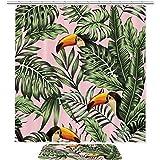 TIZORAX Papageien im Palmblatt-Dschungel-Bad-Duschvorhang eingestellt mit Rutschfester Badezimmer-Wolldecke-Boden-Matten-Inneneinrichtung