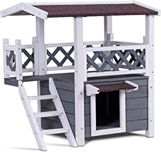 PETSJOY Pet Cat House, Wooden Cat Condo Shelter with Stairs, Weatherproof Kitty Condo Room with Raised Roof and Balcony for Indoor and Outdoor Use, Feral Pet Houses for Cats Insulated, 2 Story
