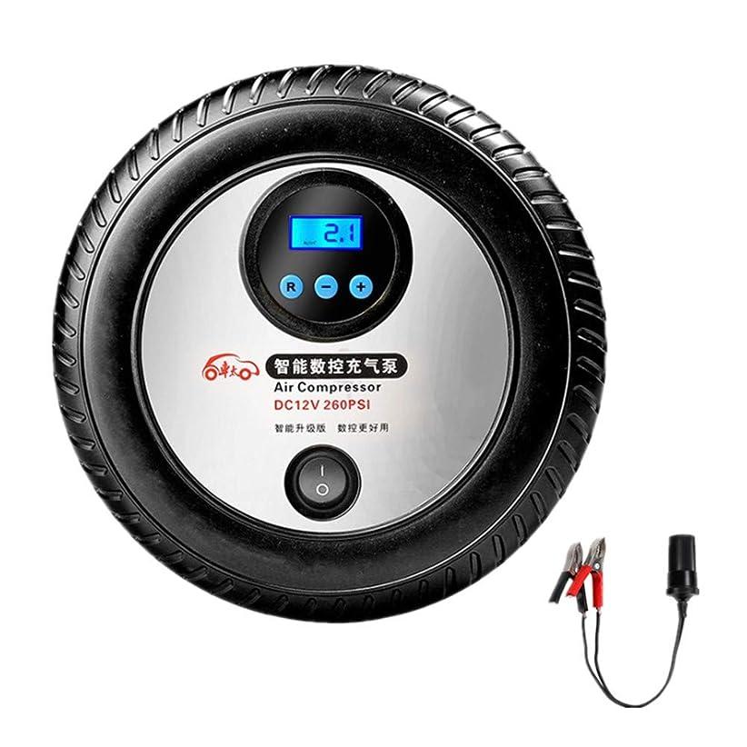 盗難権利を与える束LEDライト付き電気フィラー12Vポータブルカーエアポンプ緊急タイヤデジタルディスプレイカーエアポンプインテリジェントプリセットテストタイヤ圧蒸気,2.5 m電源コード、バッテリークリップ変換ライン付き