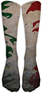 Leisue Colorful Italian Flag Original Over-The-Calf Tube Stockings Knee Socks for Yoga Train Hiking Cycling Running Sports Soccer