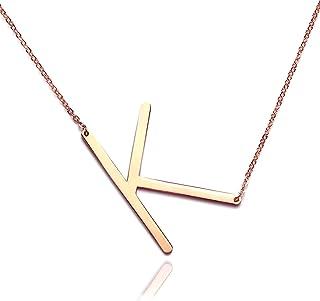 RINHOO Big Large Initial Necklace Stainless Steel Rose Gold Letter Chain Script Name Pendant for Girl Women?s Gift (K)