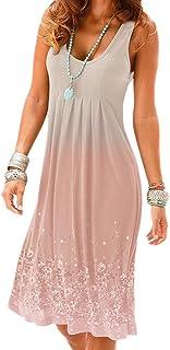 SLYZ Mujeres Europeas Y Americanas Vestido De Verano De Longitud Media Con Estampado De Moda Vestido De Mujer Con Gradiente