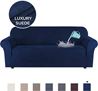 H.VERSAILTEX Luxurious Water Repellent Soft High Stretch Suede Sofa Slipcover Navy Blue Couch Covers Velvet Plush Furniture Protector Machine Washable Sofa Covers, 3 Seater Large Size