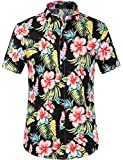 SSLR Men's Cotton Button Down Short Sleeve Hawaiian Shirt (Large, Red Hibiscus)