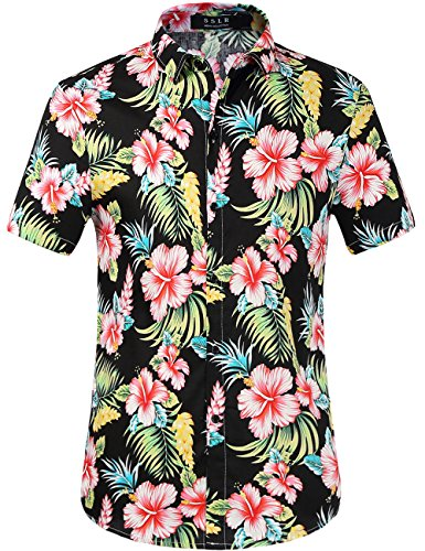 SSLR Men's Flower Casual Button Down Short Sleeve Shirt (Medium, Red Hibiscus)