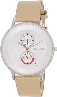 ساعة بيركيلي بعرض انالوج، مينا وهيكل فضي وسوار جلدي مدبوغ من بوليس للرجال - PL 15402JS-04