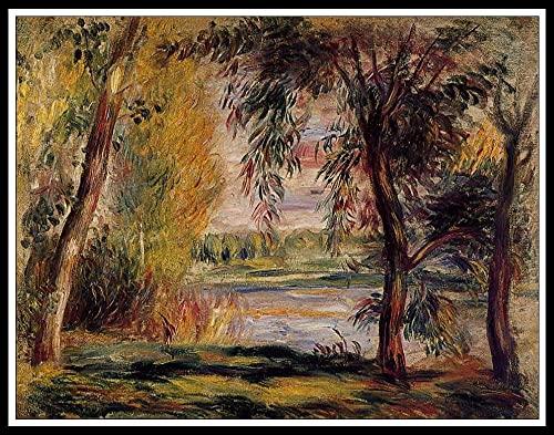 Pintar por Números Niños DIY Pintura óleo Pintura Niños Kit Manualidades Niños Pintar por Números Decoraciones para el Hogar - Pierre Auguste Renoir - Árboles junto al agua