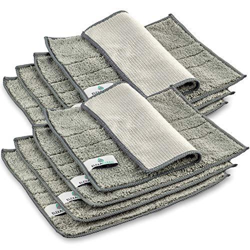 ELEXACLEAN Spültücher waschbar - Mikrofaser (Grau, 8er Set, 24x20cm) Spüllappen für Küche, Geschirr