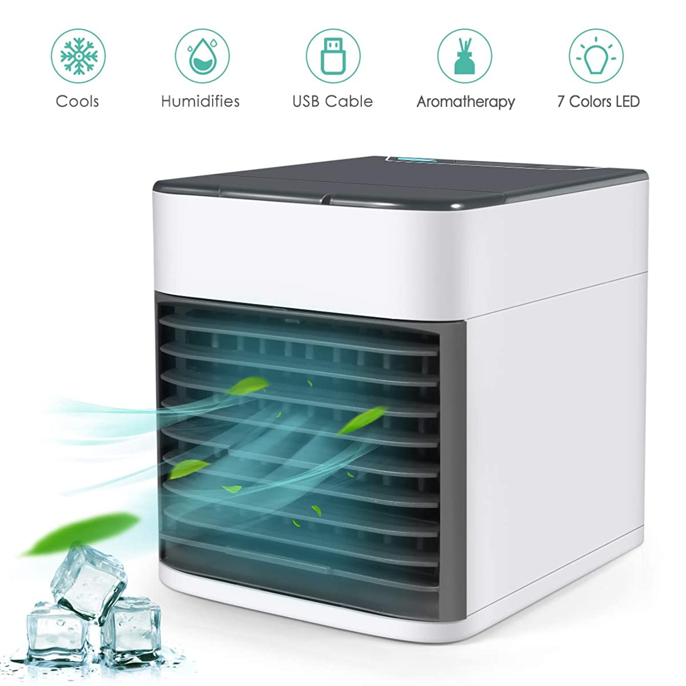 VANTAKOOL Air Conditioner Fan, Personal USB Air Cooler with LED Lights,Mini Air Purifier Humidifier for Home Room Office,Mini Desk Fan