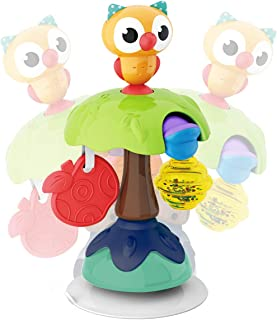 REMOKING Suction Base High Chair Interactive Rattle Toy, Swingable Owl with Baby Rattle,Developmental Tray Toy for Early L...