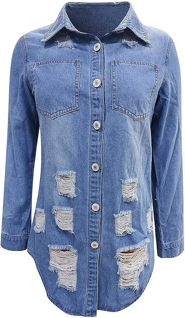 Women's Jean Jacket Long Sleeve Classic Distressed Fray Hem Tassels Denim Trucker Jackets