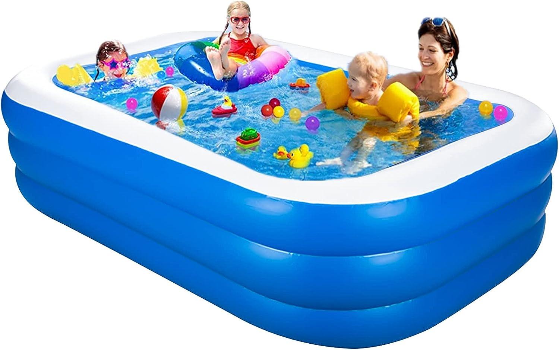 Piscina hinchable grande familiar para nadar, jugar y dormir, rectangular para jardín y exterior, color azul (200 x 120 x 45 cm)