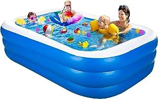 Piscina hinchable grande familiar para nadar, jugar y dormir, rectangular para jardín y exterior, color azul (200 x 120 x ...