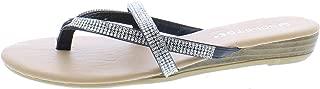 Gold Toe Women's Camile Double Strap Multi Band Rhinestone Jewel Embellished Low Wedge Heel Thong Sandal
