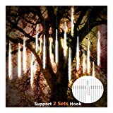 ohCome Meteor Shower Rain Drop Lights 30cm 10 Spiral Tubes 300 LEDs Waterproof Icicle Snowfall String Lights for Wedding Christmas Halloween Garden Tree Home Decor, Support 2 Sets Hook (White)
