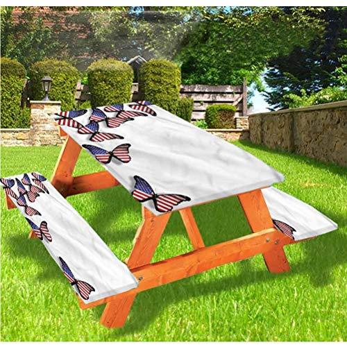 LEWIS FRANKLIN Tenda da doccia Americana Deluxe Picnic Table Coverss, Bandiera Volante Farfalle Elastico Bordo Tovaglia, 60,5 x 172 cm, Set di 3 pezzi per tavolo pieghevole