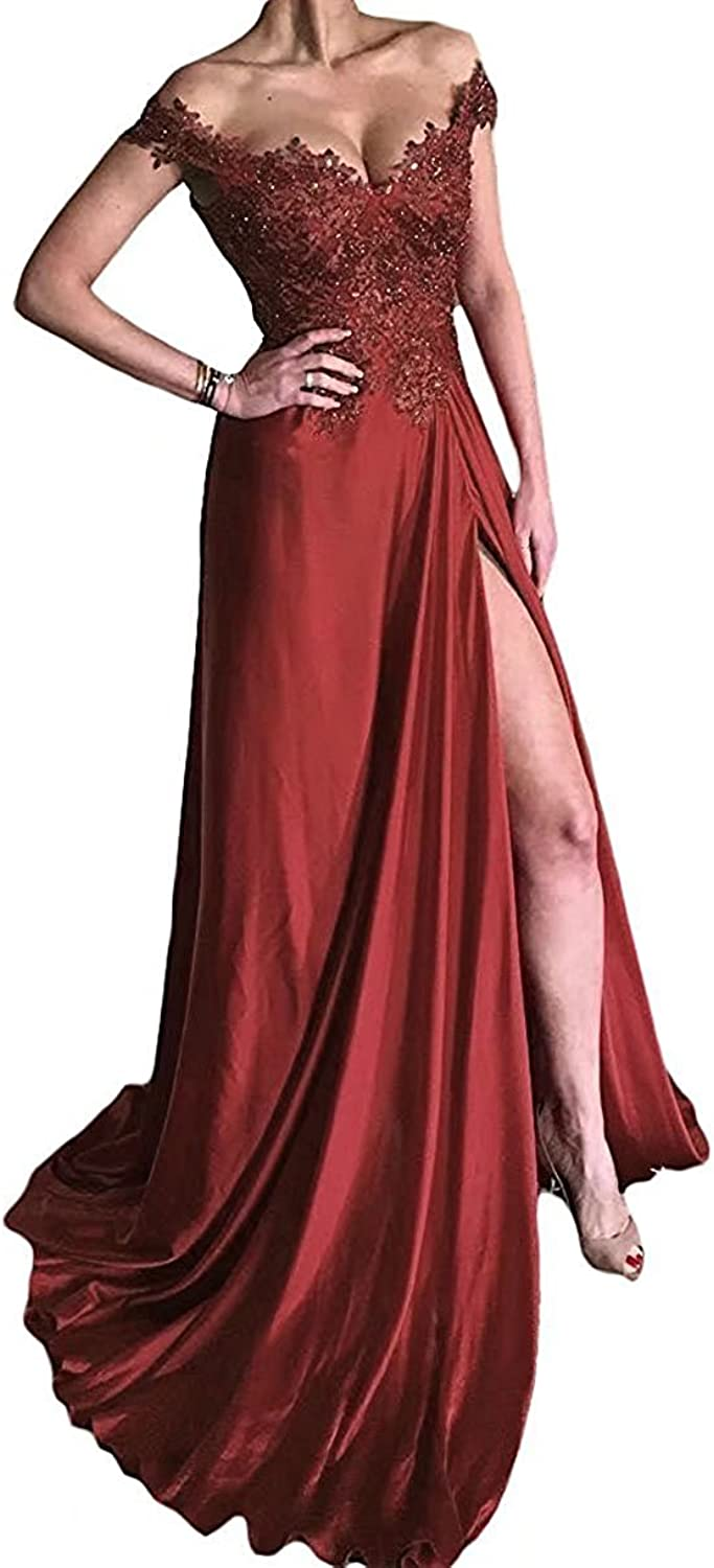 Hjtrust Women's Off Shoulder Formal Evening Dresses Split Prom Dress Long Party Gown H058
