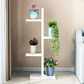 HTTSC Flower Frame Wrought Iron Multi-Layer Indoor Floor Display Rack Room Bedroom Flower Pot Storage Rack (Color : White,...