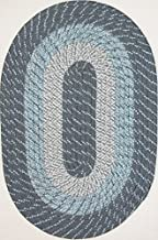 "product image for Plymouth 7'4"" x 9'4"" (88"" x 112"") Oval Braided Rug in Blue Mist Made in New England"