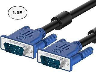 GUANGUAN ディスプレイケーブル VGAケーブル D-sub15ピン 1.5m VGAオス-オス ケーブルキコネクタ 液晶テレビ ディスプレイ プロジェクター HDTV等に適用 ブラック …