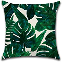 NEW6 16 Designs Pack of 2 Tropical Plant Birds Green Leaves Flower Printed Throw Pillow Cases Cotton Linen Cushion Cover 1...