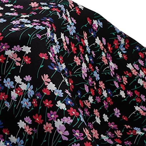 ANWUYANG BU 1 UNIDS Tela De Popelina De Algodón De Estilo Floral Negro, Grúa Impresa Colección para Coser De Verano Vestidos, Bricolaje Remiendo Hecho A Mano W145CM (Size : 100x145cm)