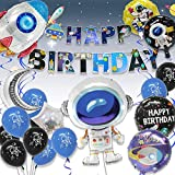 Pushingbest Decoraciones Cumpleaños, Decoraciones de Fiesta temáticas del Espacio Exterior, Astronauta Cohete Globos Foil y Happy Birthday Pancarta Colgar Remolino Astronauta Globos de Látex