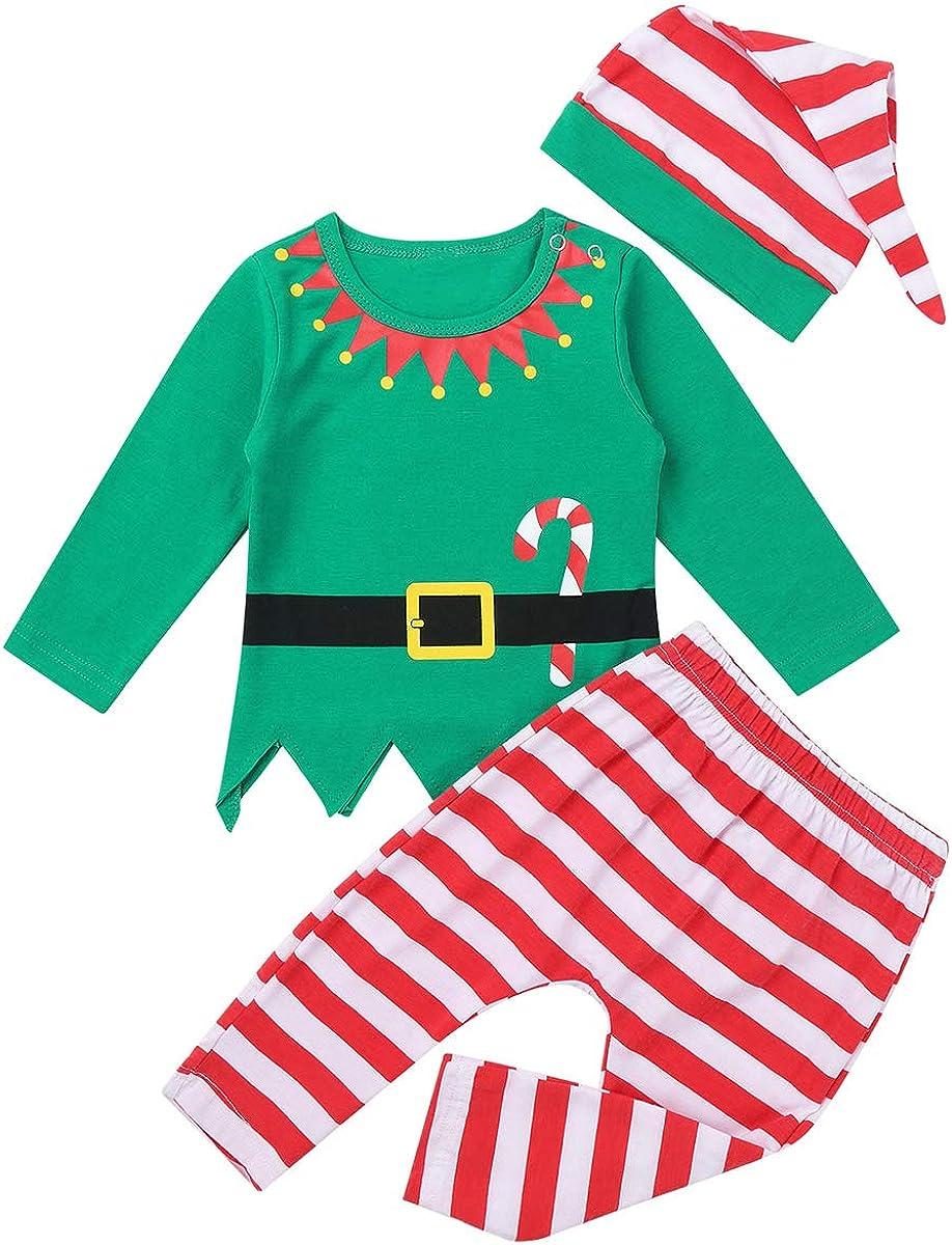 inhzoy Baby Boys Girls Santa Outfits Long Sleeve Digital Printed Shirt with Stripe Pants Hat Christmas Set