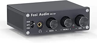Fosi Audio Q4 - Mini Stereo Gaming DAC & Headphone Amplifier, 24Bit/192kHz USB/Optical/Coaxial to RCA AUX, Digital-to-Anal...