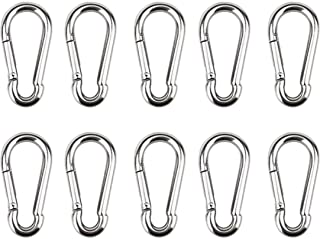 kelebin 10pcs Spring Snap Hook Stainless Steel Carabiner Steel Clips Keychain Heavy Duty Quick Link for Camping Hiking Travel