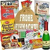 Geschenksäckchen zum Verschenken ++ Weihnachtsgeschenk Idee für Ostalgiker + Schokoladentäfelchen DDR Geld, Kalter Hund Blister, Zetti Knusperflocken...