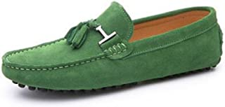 HAPPYSHOP Men's Casual Suede Leather Tassel Slip-On Loafers Driving Car Moccasins Outdoor Boat Shoes