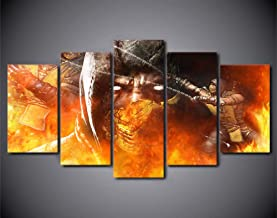 5 Piece Wall Art Painting Hd 5 Piece Canvas Printed Comic Mortal Kombat Painting Canvas Room Decor Movie Poster Print Abstract Art Canvas Pictures