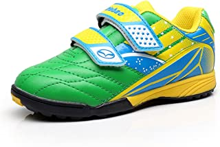 Tiebao Boys Cool Multicolor Hook&Loop Football Shoes Fustal Soccer Sneakers Hard Ground Turf Indoor