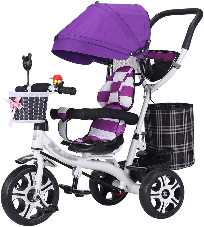 Mode Kinderwagen Trike-Fahrradrahmen aus Kohlenstoffstahl Kinder-Dreirad mit drehbarem Sitz und Sicherheitsgurt Kinderwagen für 6 Monate bis 6 Jahre