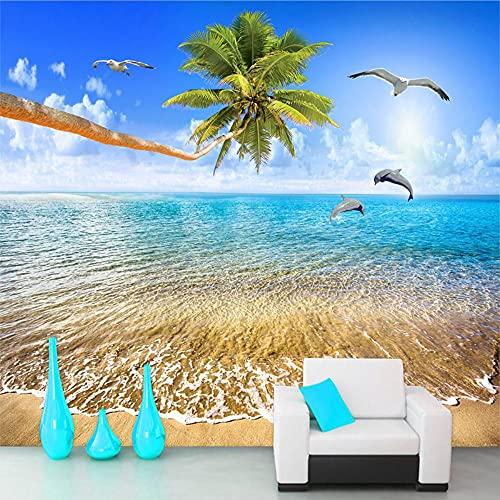 MAZF Custom Wall Cloth Sandy Beach Coconut Trees Delphin Sea View 3D Photo Wallpaper for Wohnzimmer Schlafzimmer Art Wall Painting Modern 350cm (B) x 260cm (H)