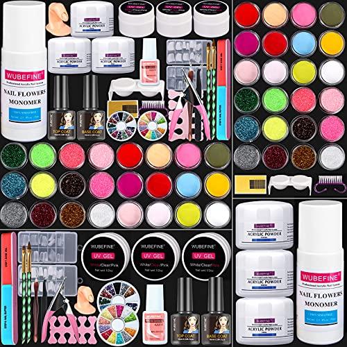 WuBeFine Acrylic Nail Kit, Acrylic Powder Monomer Liquid Set, Gel Nail art Tools Kit Professional Manicure Set