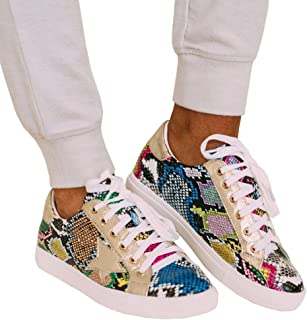 Womens Star Sneakers Fashion Platform Low Top Glitter Slip On Lace Up Flats Shoes