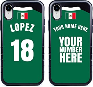 Custom Mexico Flag Soccer Jersey Cases for iPhone XR by Guard Dog – Personalized – Put Your Name and Number on a Phone Case. Includes Screen Protector (Black,Black)