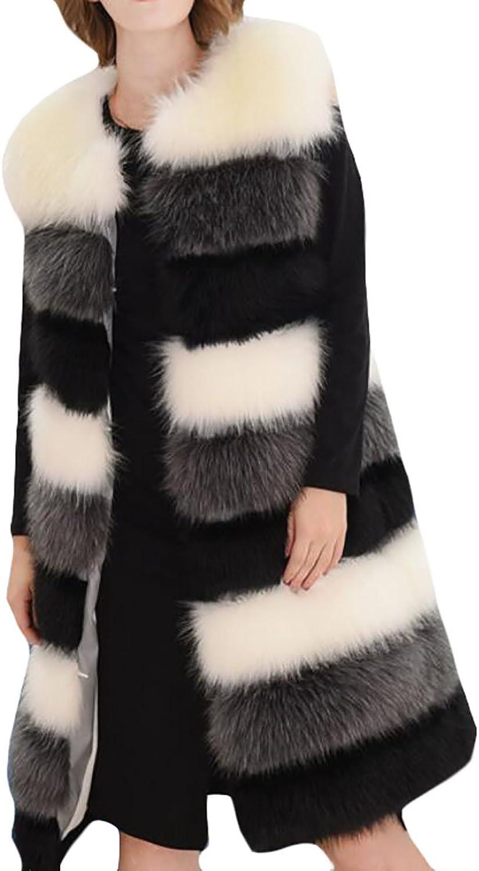 Alion Women's Classic Sleeveless Slim Fit Plus Size Faux Fur Long Vest